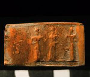 Thumbnail of Plaster Impression of Cylinder Seal by Edith Porada 1900.53.0065A (1900.53.0065C)