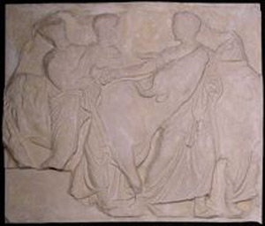 Photo of Plaster Cast of South Parthenon Frieze Panel - Four Men and a Cow