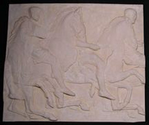 Photo of Plaster Cast of South Parthenon Frieze Panel - Three Knights Mounted on Galloping Horses