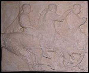 Thumbnail of Plaster Cast of South Parthenon Frieze Panel - Three Knights Mounted on Galloping Horses (1911.03.0013)