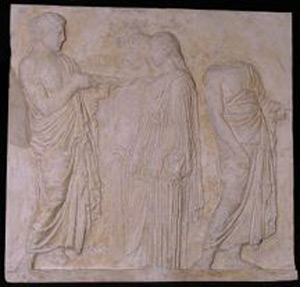 Thumbnail of Plaster Cast of East Parthenon Frieze Panel - Marshal, Two Maidens, and a Herald (1911.03.0017)