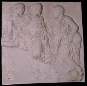 Thumbnail of Plaster Cast of East Parthenon Frieze Panel - Three Male Figures with Staves, Standing at Ease (1911.03.0019)