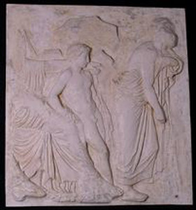 Thumbnail of Plaster Cast of East Parthenon Frieze Panel - Aphrodite, Eros and Male Figure with Staff (1911.03.0020)