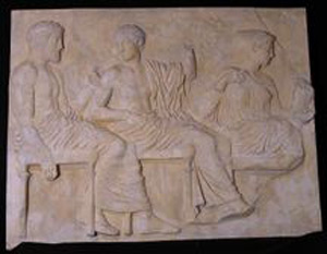 Thumbnail of Plaster Cast of East Parthenon Frieze Panel - Three Seated Figures: Poseidon, Apollo, and Artemis (1911.03.0021)