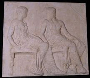 Thumbnail of Plaster Cast of East Parthenon Frieze Panel - Two Seated Figures: Athena and Hephaistos (1911.03.0022)