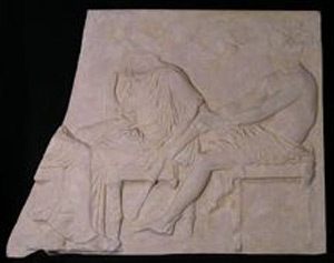 Photo of Plaster Cast of East Parthenon Frieze Panel - Seated Goddess (Demeter) and God (Ares)