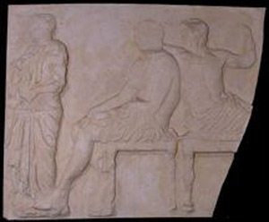 Photo of Plaster Cast of East Parthenon Frieze Panel - Standing Male and Two Seated Gods; Hermes and Dionysius