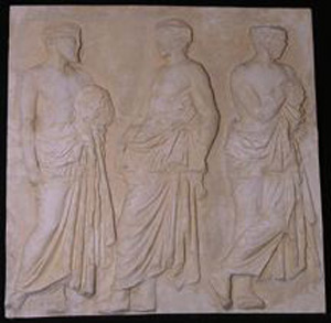 Photo of Plaster Cast of East Parthenon Frieze Panel - Three Men Awaiting the Procession