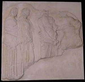 Thumbnail of Plaster Cast of East Parthenon Frieze Panel - Two Females (Ergastinae or Peplos Weavers) and Two Males (1911.03.0029)