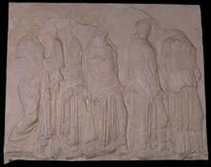 Thumbnail of Plaster Cast of East Parthenon Frieze Panel - One Female with Jugs and Four with Trumpet-like Objects (1911.03.0030)