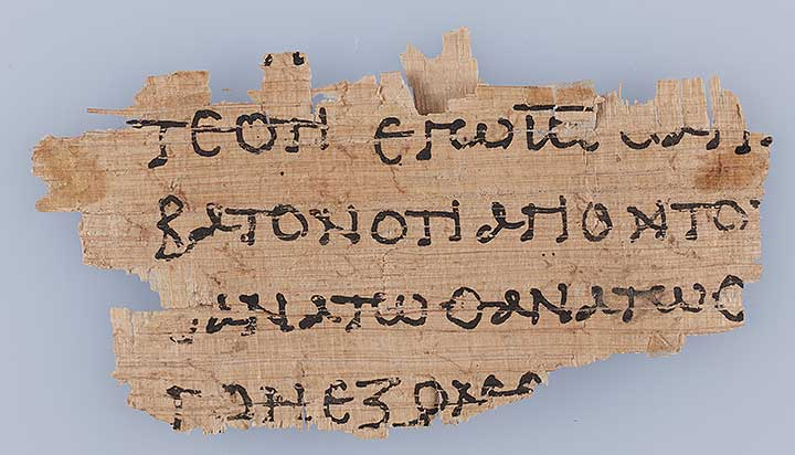 Photo of Oxyrhynchus Papyrus, P.Oxy VIII 1074: Transcript, Exodus 31: 13-14, 332: 7-8, Septuagint Version (Fragment)
