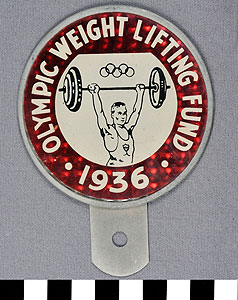 Thumbnail of Promotional Reflector for Olympic Weight Lifting Fund (1977.01.0974)