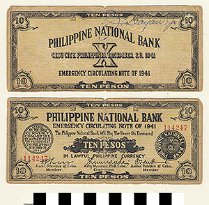 Photo of Bank Note: Philippine Commonwealth Government Cebu Emergency Circulating, 10 Pesos