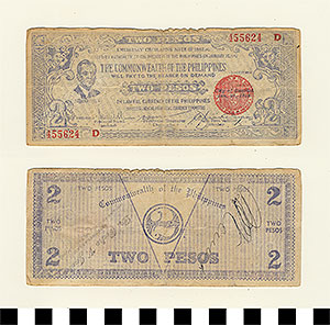 Photo of Bank Note: Philippine Commonwealth Government Negros Occidental Emergency Circulating, 2 Pesos