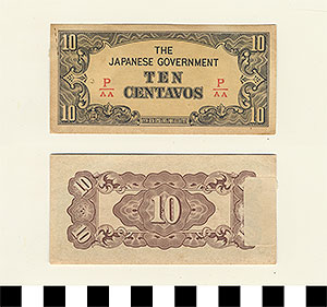 Photo of Bank Note: Japanese Government-Issued Philippine Occupation Fiat, 10 Centavos
