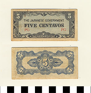Photo of Bank Note: Japanese Government-Issued Philippine Occupation Fiat, 5 Centavos