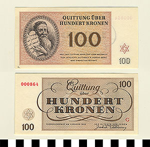 Photo of Bank Note: Nazi 100 Kronen Receipt from Theresienstadt Concentration Camp