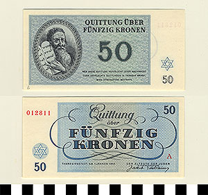 Photo of Bank Note: Nazi 50 Kronen Receipt from Theresienstadt Concentration Camp