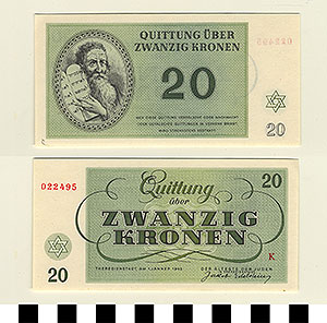 Photo of Bank Note: Nazi 20 Kronen Receipt from Theresienstadt Concentration Camp