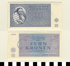 Photo of Bank Note: Nazi 10 Kronen Receipt from Theresienstadt Concentration Camp