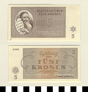 Photo of Bank Note: Nazi 5 Kronen Receipt from Theresienstadt Concentration Camp
