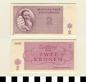 Thumbnail of Bank Note: Nazi 2 Kronen Receipt from Theresienstadt Concentration Camp (1992.23.0380F)