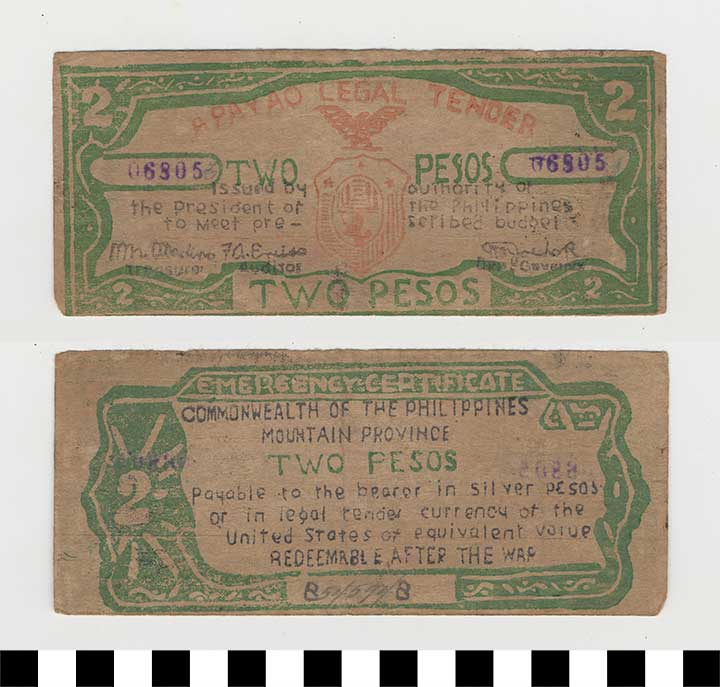 Photo of Philippine Commonwealth Government Apayao Mountain Province Emergency Circulating Bank Note: 2 Pesos