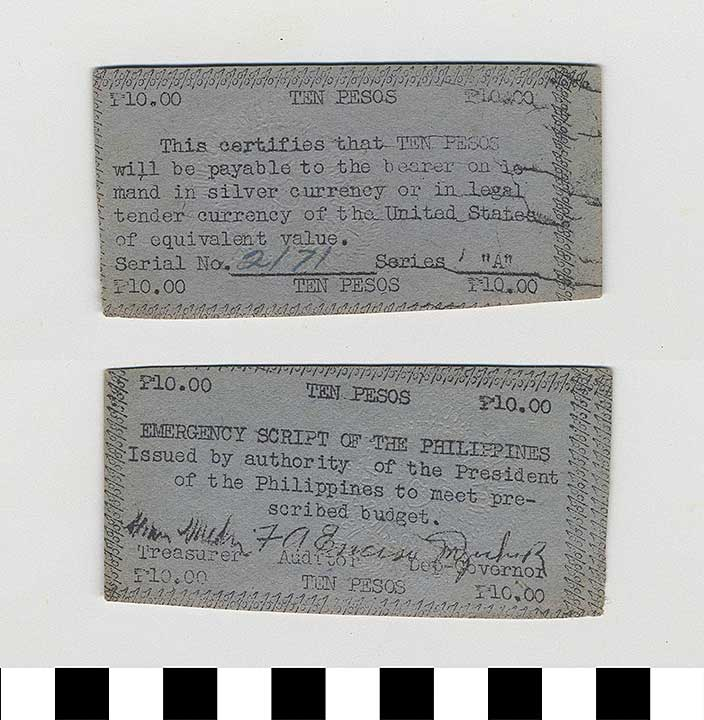 Photo of Philippine Commonwealth Government Emergency Circulating Bank Note: 10 Pesos