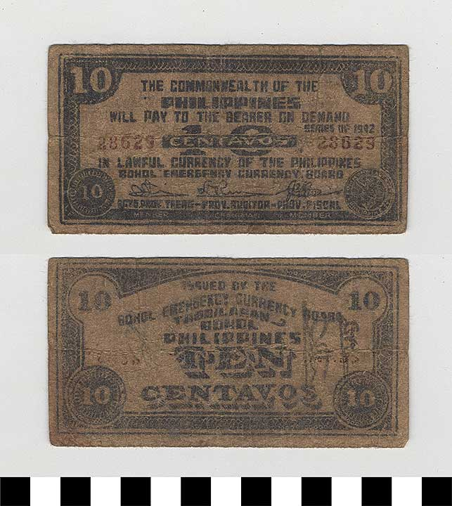 Photo of Philippine Commonwealth Government Bohol Emergency Circulating Bank Note: 10 Centavos