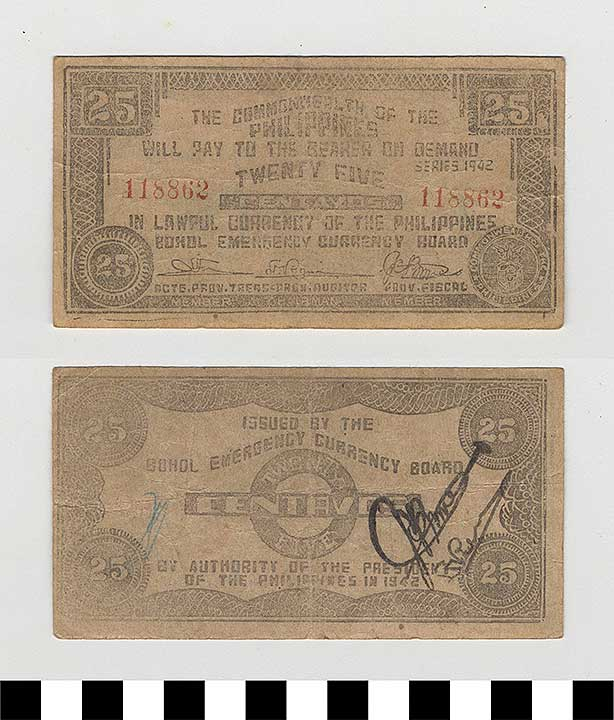 Photo of Philippine Commonwealth Government Bohol Emergency Circulating Bank Note: 25 Centavos