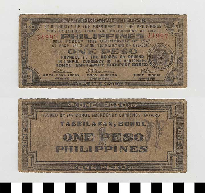 Photo of Philippine Commonwealth Government Bohol Emergency Circulating Bank Note: 1 Peso