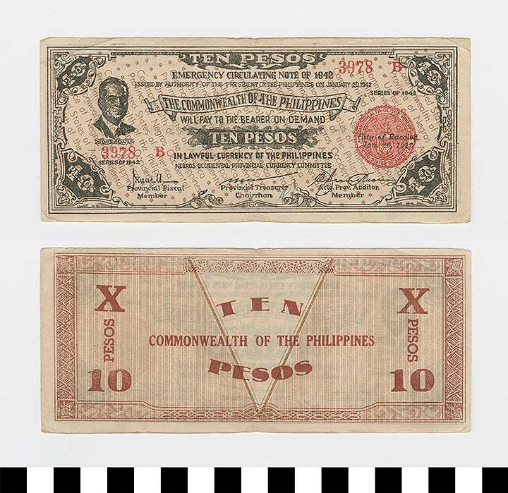 Photo of Philippine Commonwealth Government Negros Occidental Emergency Circulating Bank Note: 10 Pesos