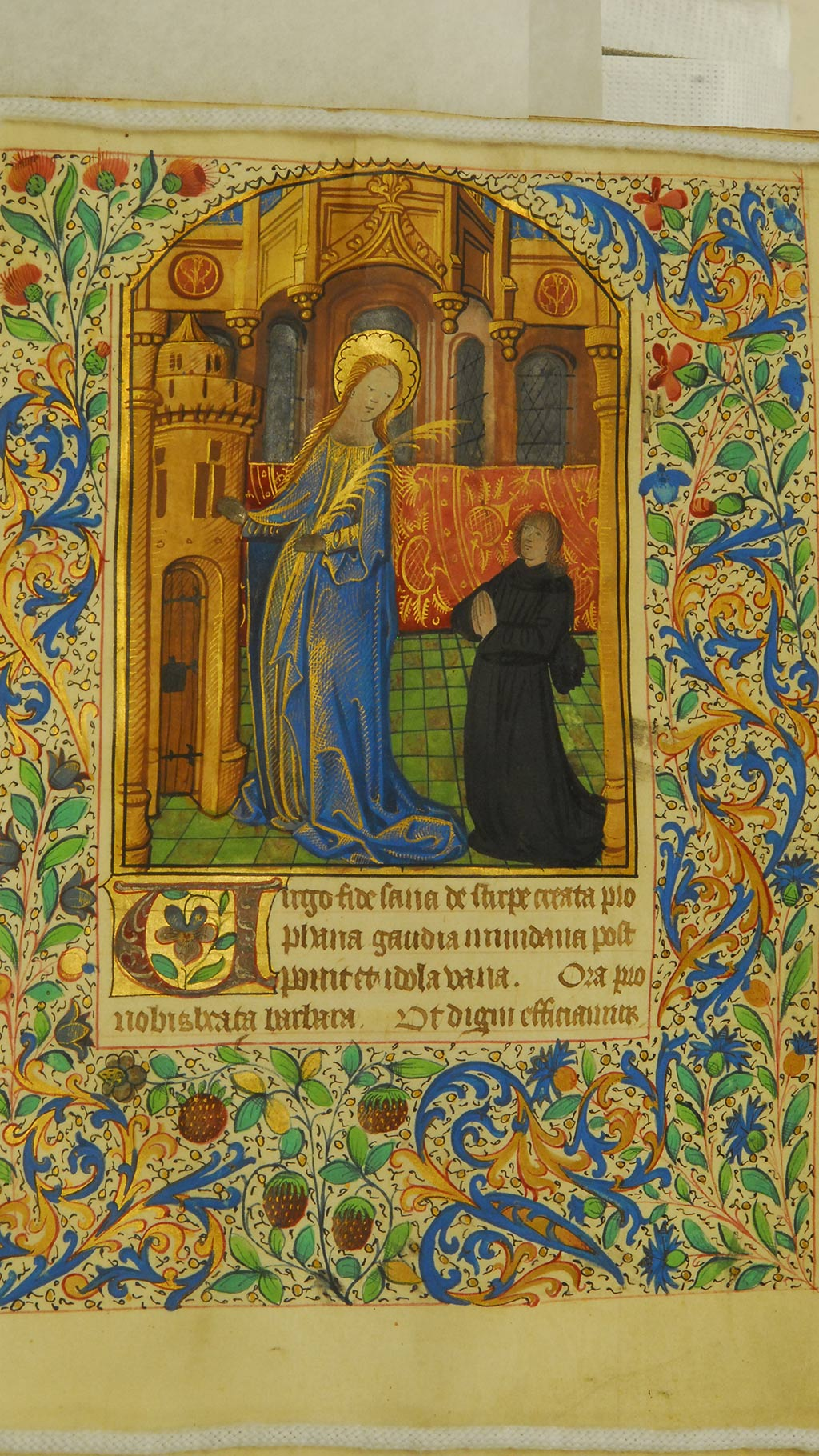 inside page of the manuscript, Virgin Mary, a man in black