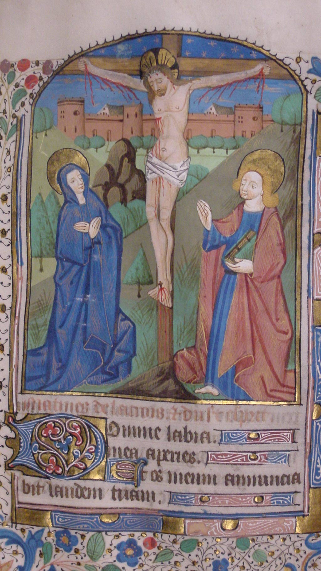 inside page of the manuscript, Jesus on the cross, Virgin Mary and a man holding book in red cloak
