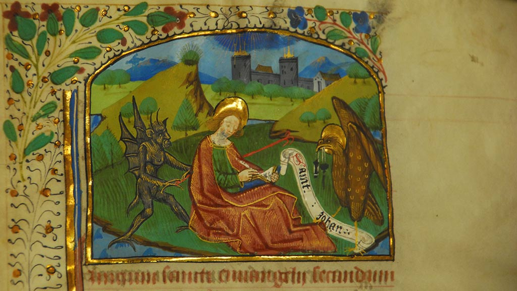 inside page of the manuscript, man writing, surrounded by demons
