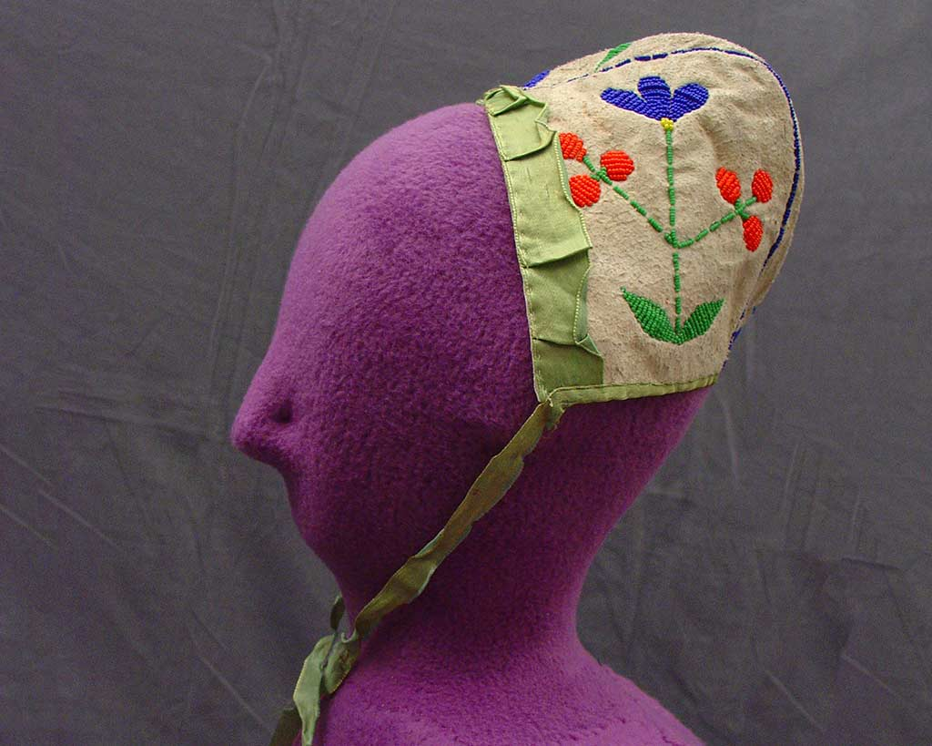 Beaded Baby Bonnet with Chippewa Style Motifs