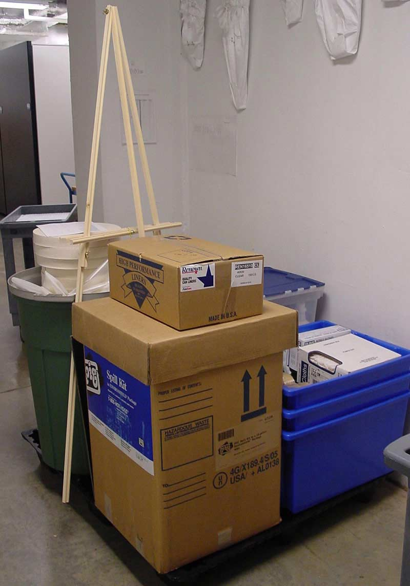 A pallet of emergency response materials is packed and will be sealed with pallet wrap.