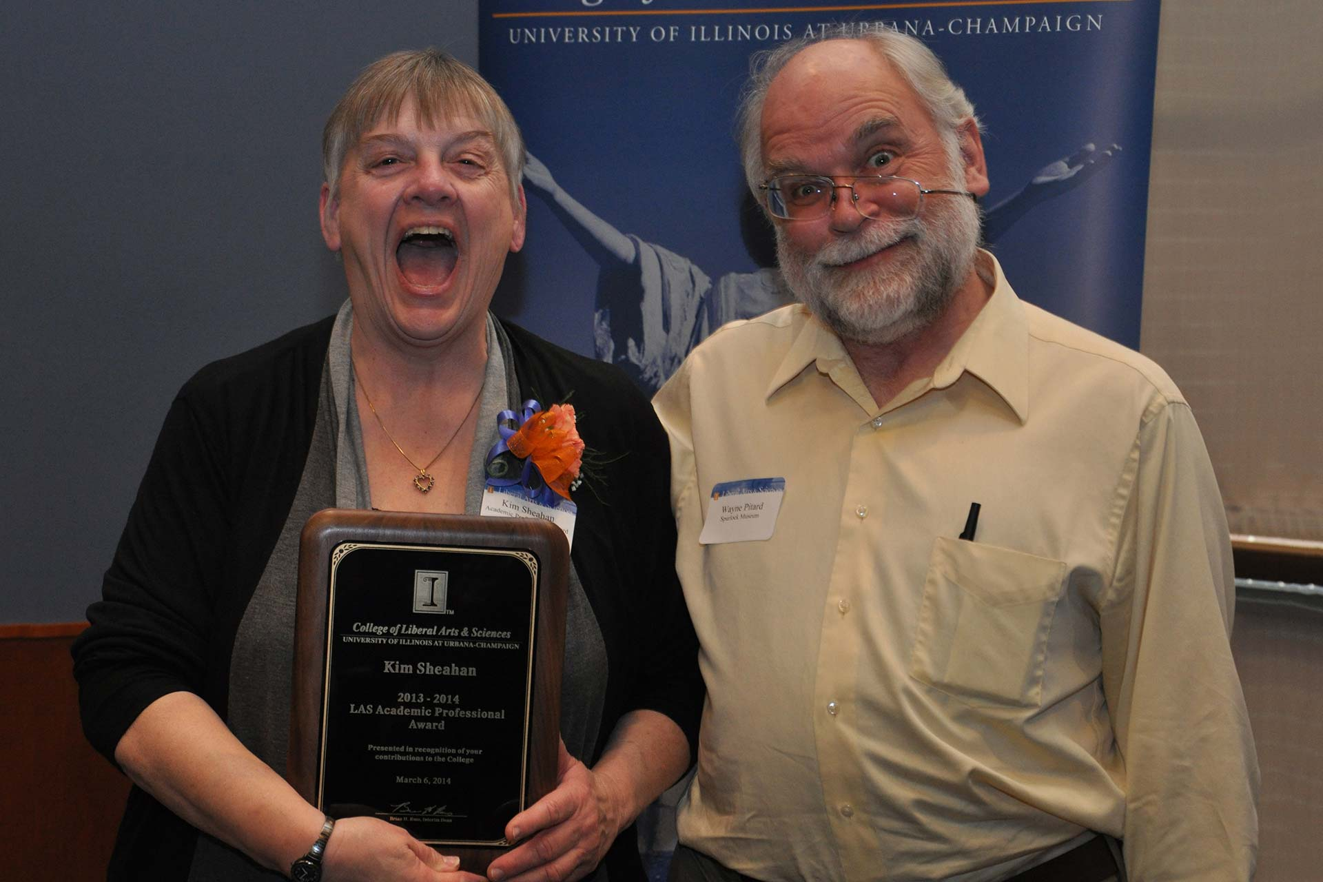 Wayne makes a crazy pose with laughing award winner Kim Sheahan