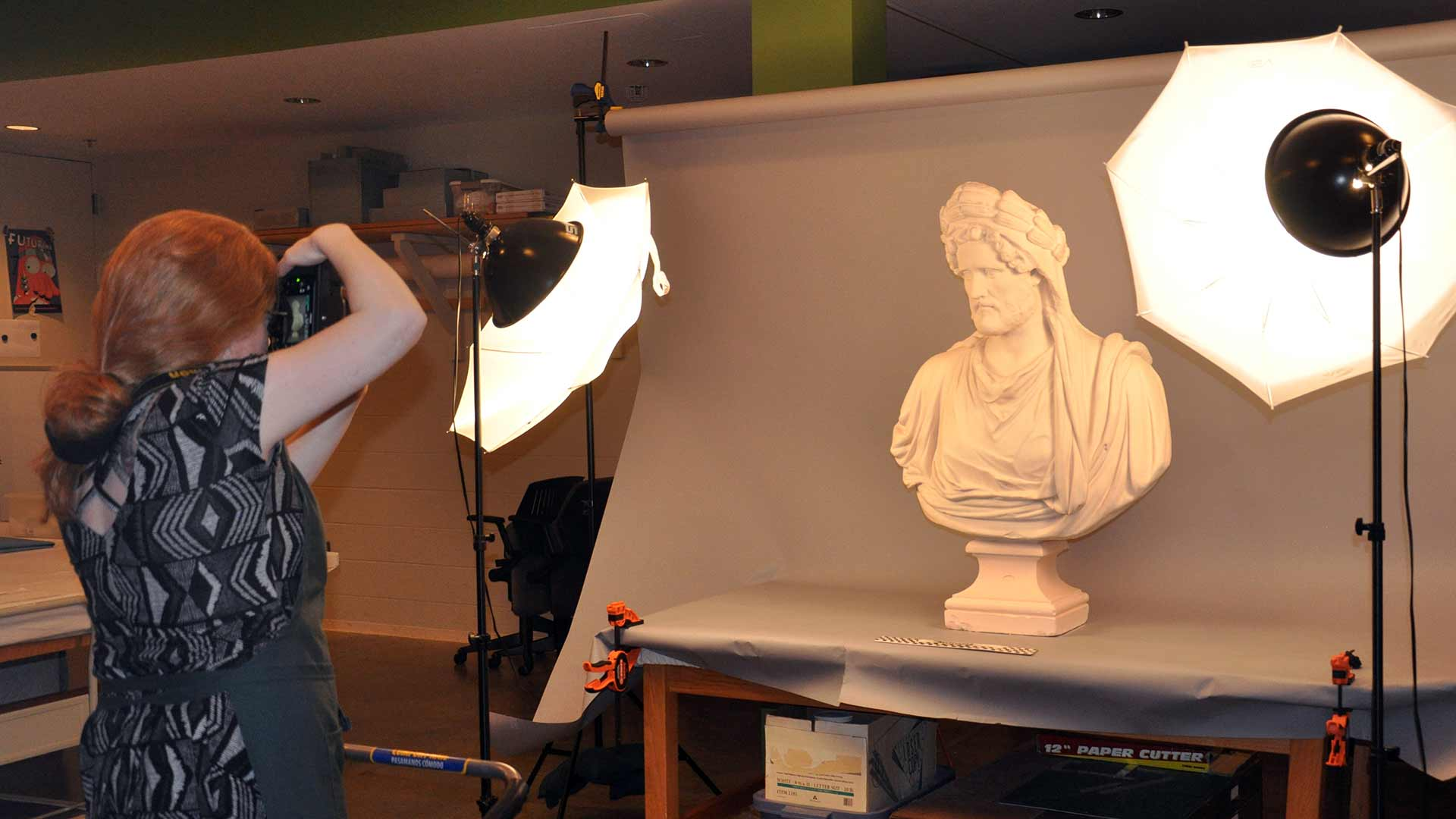 Plaster cast busts are prepared for loan overview image