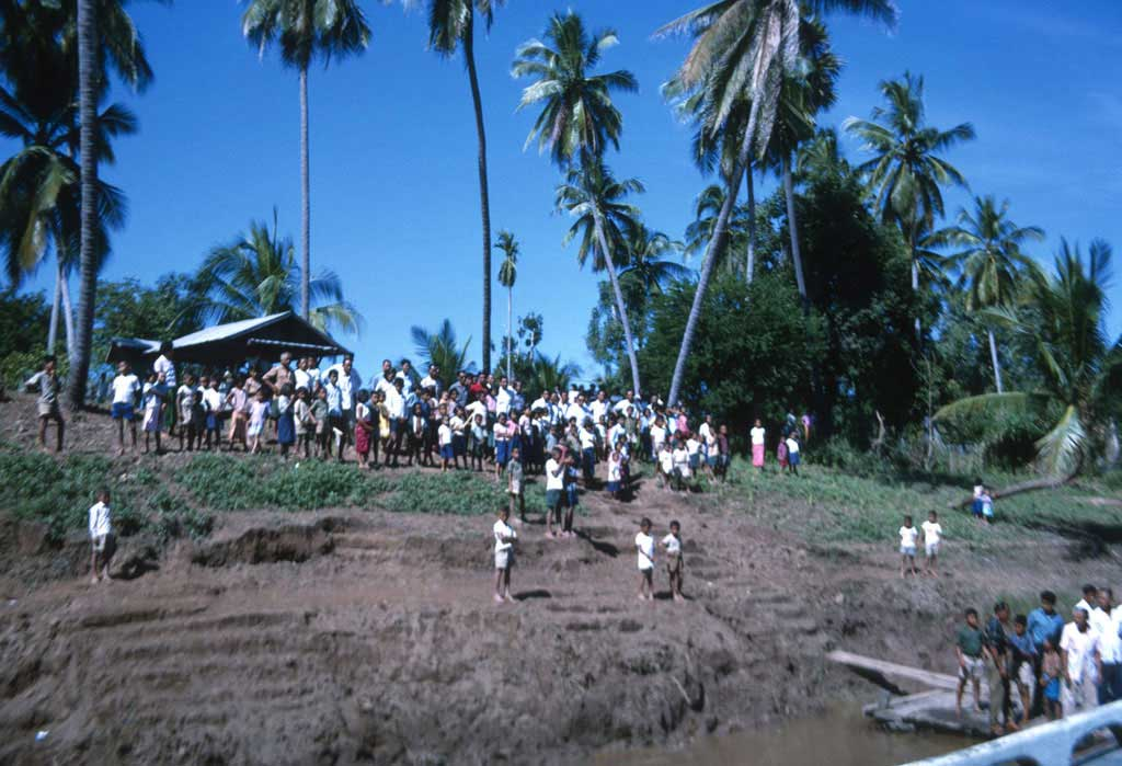 A large group of people gathered near a river