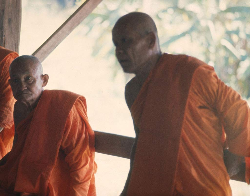 Two monks wearing orange robes