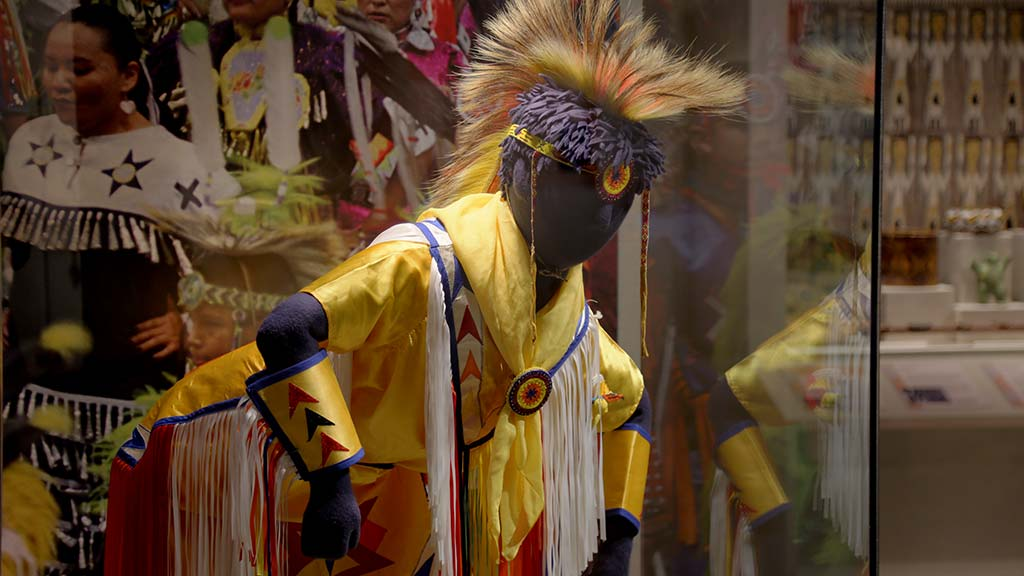 powwow costume on display in the Americas gallery