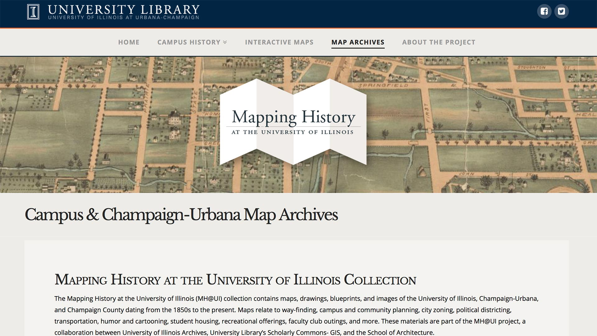 screenshot of the main Mapping History / Campus & C-U Map Archives screen