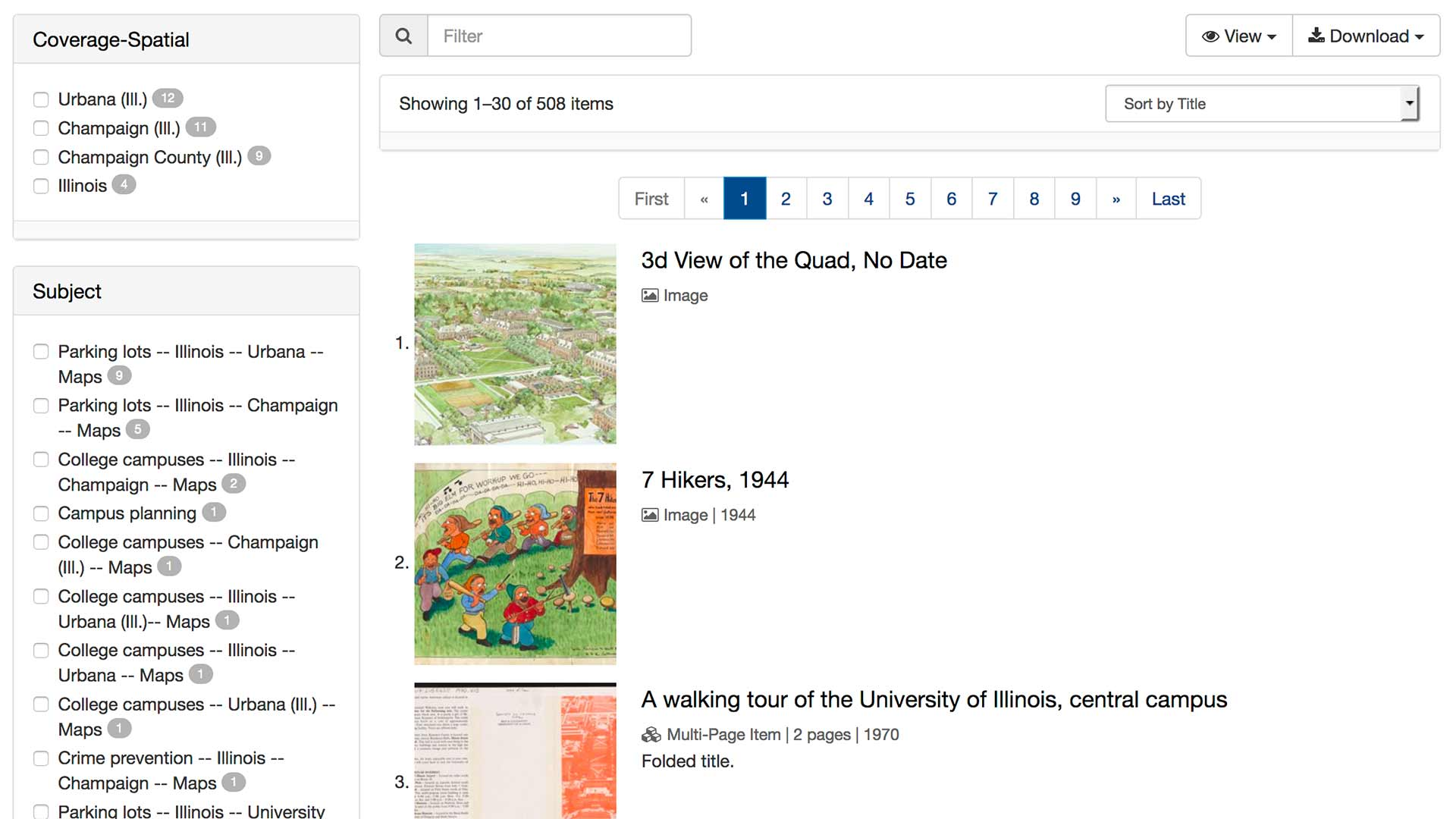 screenshot showing 3 maps/images, filters, and a list of 508 items