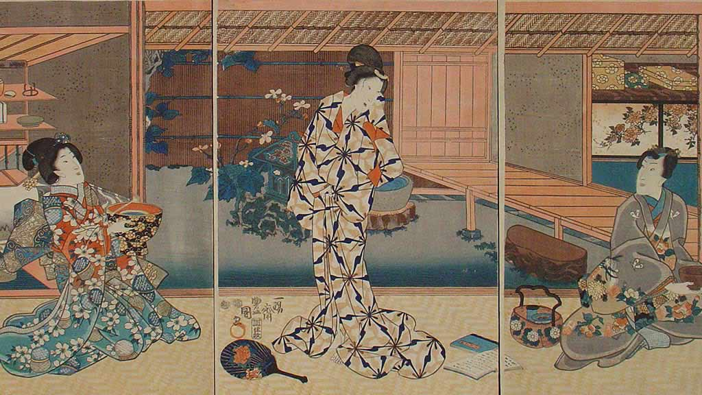 Featured Object: Woodblock Print: Ukiyo-e A Tea Party by Toyokuni II overview thumbnail