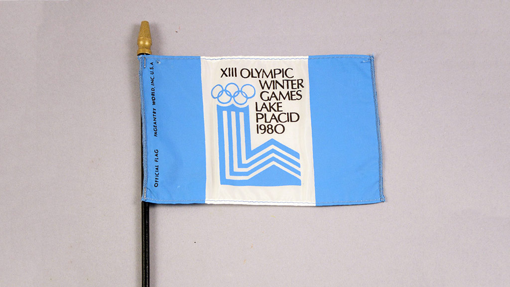 Olympics flag in white and blue from 1980