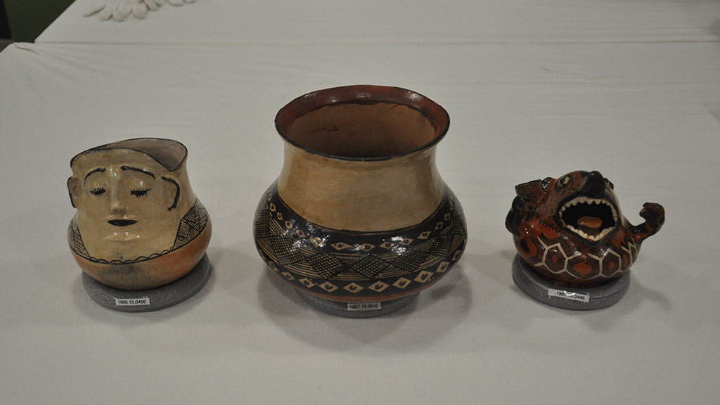 Completed pottery with ring mounts.