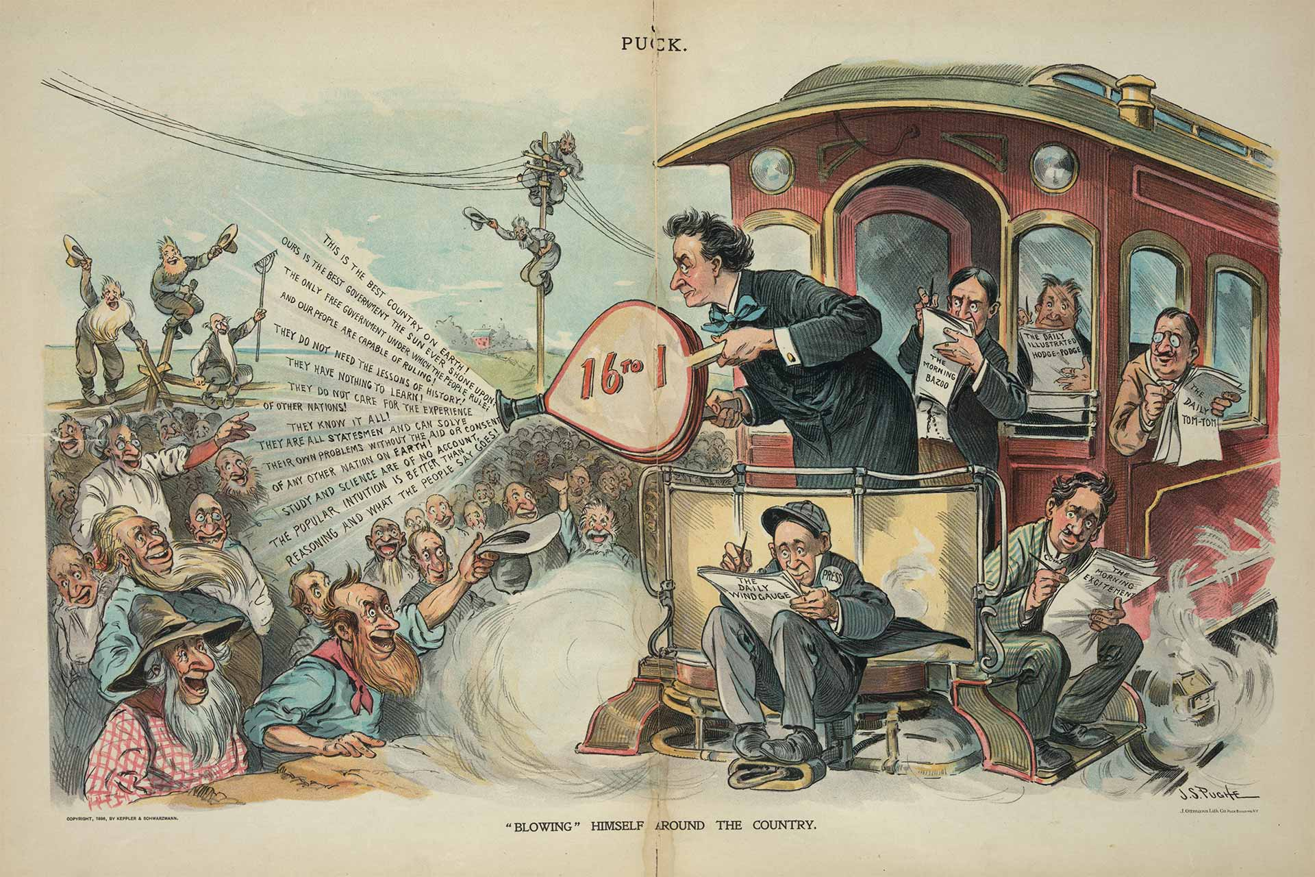 Political cartoon of man in a suit on back of train fanning out campaign messages to a throng of excited bystanders