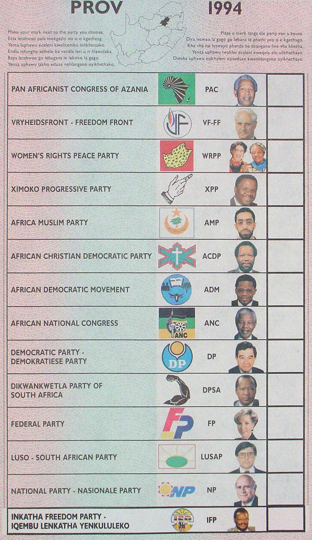 an image of the ballot from South Africa's 1994 election with rows containing the name of the party the candidate was running for, the party logo, the acronym for the party, and a headshot of the candidate