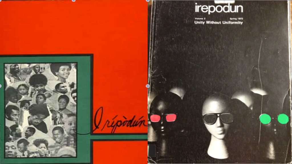 2 covers from 1972 and 1973 of irepodun, the 1st African American yearbook to be published at the University of Illinois